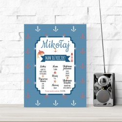 Birthday board LED - anchors, blue background 30×40×4 cm