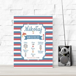 Birthday board LED - for a boy, stripes 30×40×4 cm