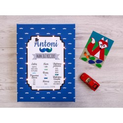Birthday board LED - mustache, navy blue 30×40×4 cm