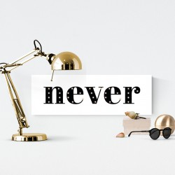 Never - napis led 20×60×4 cm
