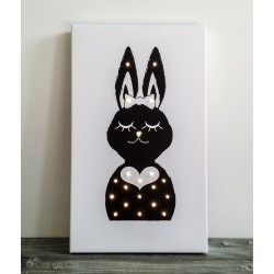 """Mrs. Rabbit"" - print with LED, 30×50×4 cm"