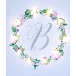 Floral wreath with letter, pattern 3 - LED print - 30×40×4 cm