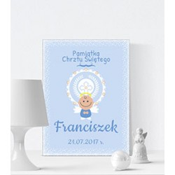 Baptism souvenir - canvas print LED - angel, aura, blue, 30×40×4 cm