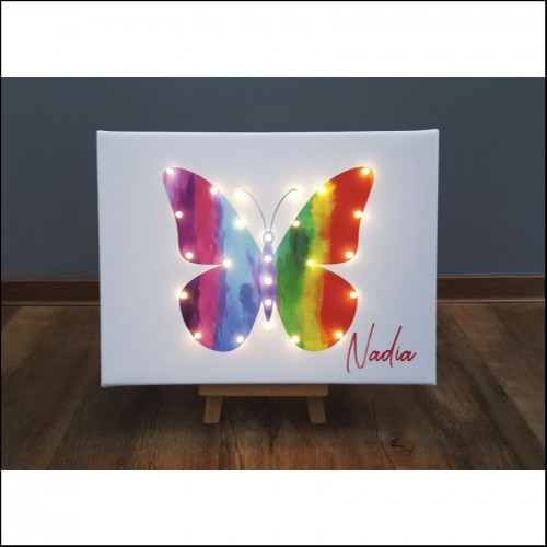 Rainbow butterfly - print with LED, 30×40×4 cm