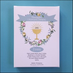 Memorial of First Communion - LED print - flower wreath, blue, 30×40×4 cm