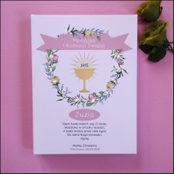 Memorial of First Communion - LED print - flower wreath, pink, 30×40×4 cm