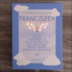 Baptism souvenir - canvas print LED - angel with wings, 30×40×4 cm