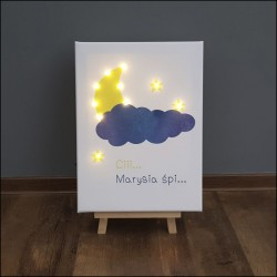 Hush... baby is sleeping - LED print, yellow-navy blue 30×40×4 cm