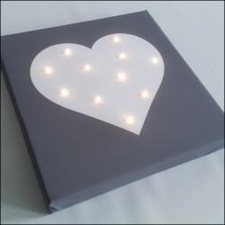Heart - print with LED, 30×30×4 cm
