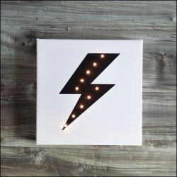 Lightning - print with LED, 30×30×4 cm