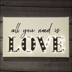 All you need is LOVE - napis led 30×40×4 cm
