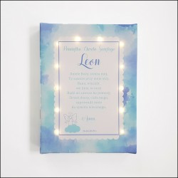 Baptism souvenir - canvas print LED - angel 30×40×4 cm