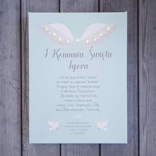 Memorial of First Communion - LED print - wings, mint, 30×40×4 cm
