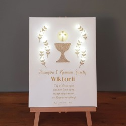 Memorial of First Communion - LED print - white, gold grail, 30×40×4 cm