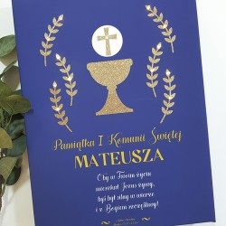 Memorial of First Communion - LED print - navy blue, gold grail, 30×40×4 cm