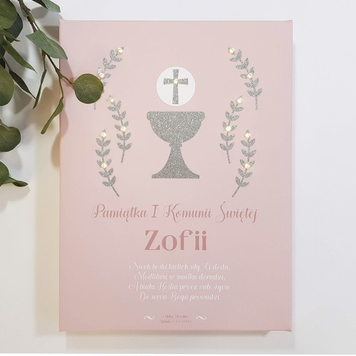 Memorial of First Communion - LED print - pastel pink, silver grail, 30×40×4 cm