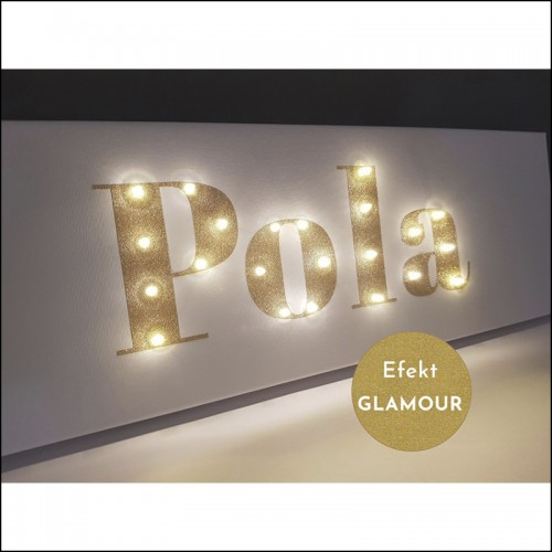 Your NAME- glitter LED sign, gold, 20×60×4 cm