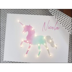 Rainbow unicorn - print with LED, 30×40×4 cm