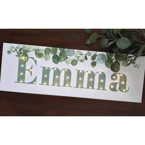 Your NAME- LED sign, eucalyptus 20×60×4 cm